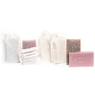 Variety of soaps in muslin bags